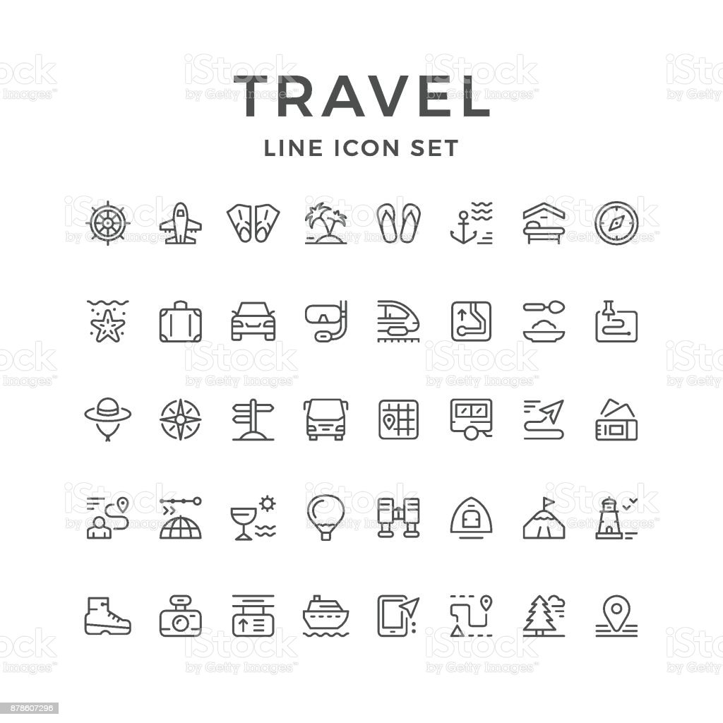 Set line icons of travel set line icons of travel - immagini vettoriali stock e altre immagini di accessorio personale royalty-free