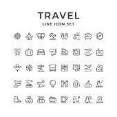 Set line icons of travel isolated on white. Vector illustration
