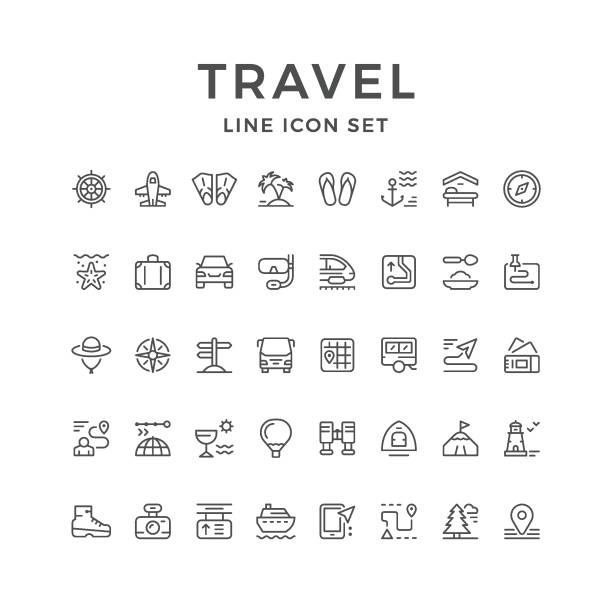 Set line icons of travel vector art illustration