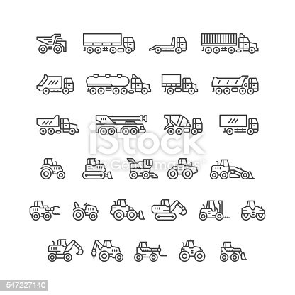 Set line icons of trucks and tractors isolated on white. This illustration - EPS10 vector file.