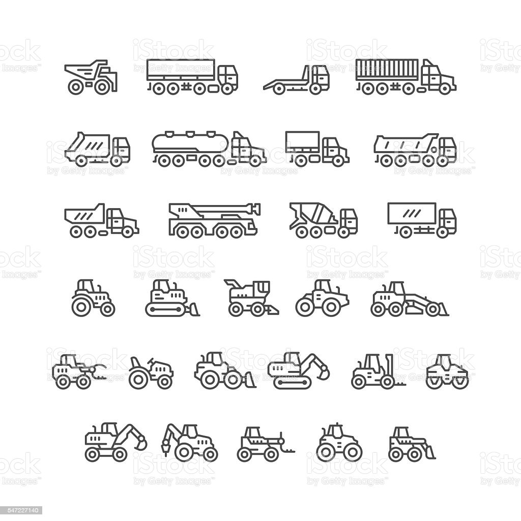 Set line icons of trucks and tractors vector art illustration