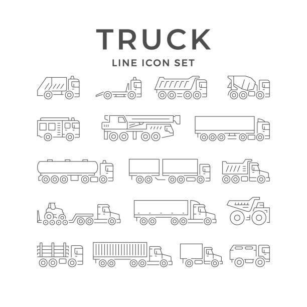 bildbanksillustrationer, clip art samt tecknat material och ikoner med ställ in linjeikoner för lastbilar - traktor pulling