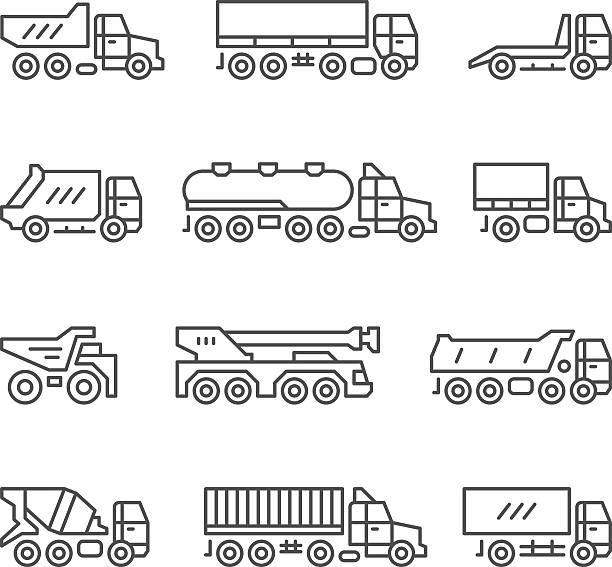 illustrazioni stock, clip art, cartoni animati e icone di tendenza di set di icone di autocarri linea - portare