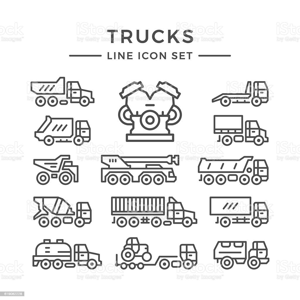 Set line icons of trucks vector art illustration