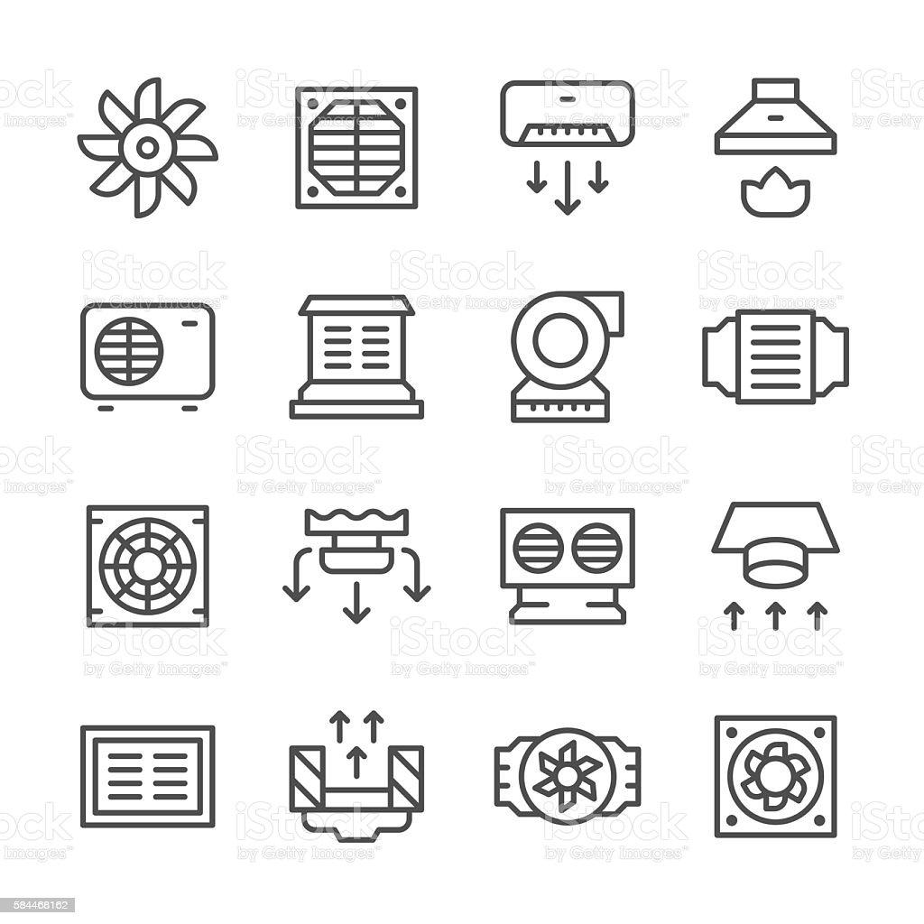 Set line icons of ventilation vector art illustration