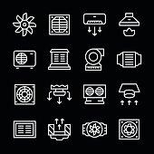 Set line icons of ventilation