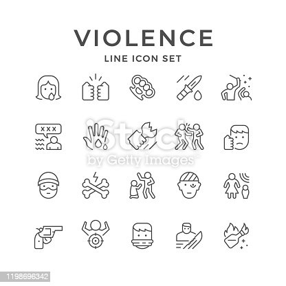 Set line icons of violence isolated on white. Woman abuse, fight, knife, brass knuckles, face punch, hostage, Molotov cocktail, domestic harassment, mass riot, injured person. Vector illustration
