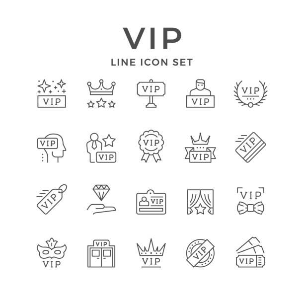 festlegen von liniensymbolen von vip - mann tür heimlich stock-grafiken, -clipart, -cartoons und -symbole