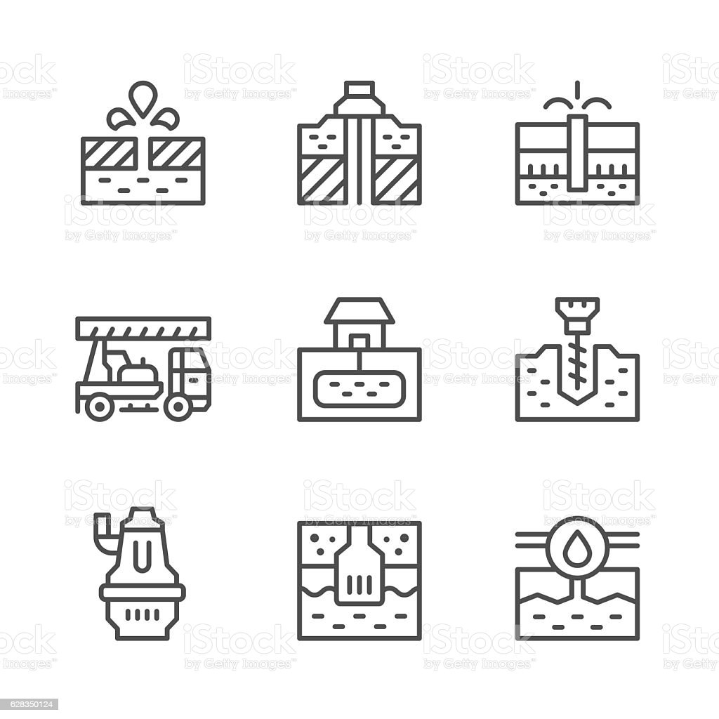 Set line icons of water bore vector art illustration