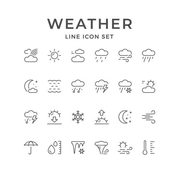 setzleitung ikonen der wetter - schneeflocke sonnenaufgang stock-grafiken, -clipart, -cartoons und -symbole