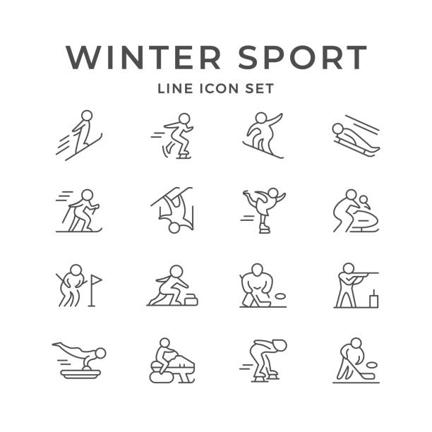 Set line icons of winter sport Set line icons of winter sport isolated on white. Hockey, ski race, skiing, biathlon, skeleton, bobsleigh, figure skating, freestyle, slalom, snowboard, luge, curling, snowmobile. Vector illustration figure skating stock illustrations