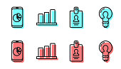 Set line Identification badge, Mobile phone with graph chart, Pie chart infographic and Light bulb with concept of idea icon. Vector