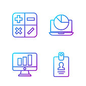 istock Set line Identification badge, Monitor with graph chart, Calculator and Laptop with graph chart. Gradient color icons. Vector 1257763418