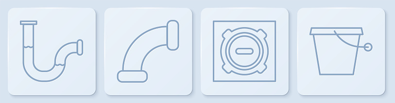 Set line Industry metallic pipe, Manhole sewer cover, Industry metallic pipe and Bucket. White square button. Vector