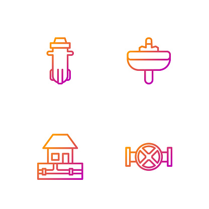 Set line Industry pipe and valve, Water supply pipes, filter and Washbasin. Gradient color icons. Vector