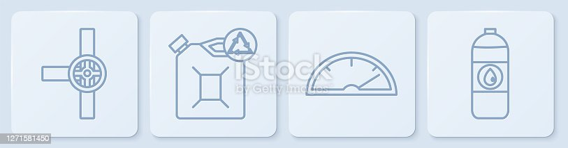 istock Set line Industry pipes and valve, Speedometer, Eco fuel canister and Canister for motor machine oil. White square button. Vector 1271581450