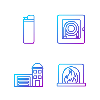 Set line Interior fireplace, Building of fire station, Lighter and Fire hose cabinet. Gradient color icons. Vector