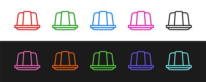 Set line Jelly cake icon isolated on black and white background. Jelly pudding. Vector