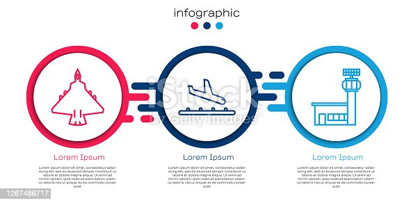 Set line Jet fighter, Plane landing and Airport control tower. Business infographic template. Vector