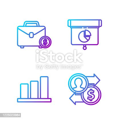 istock Set line Job promotion exchange money, Pie chart infographic, Briefcase and money and Graph, chart, diagram, infographic. Gradient color icons. Vector 1225020984