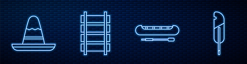 Set line Kayak or canoe and paddle, Mexican sombrero hat, Railway, railroad track, Feather pen and Shovel. Glowing neon icon on brick wall. Vector