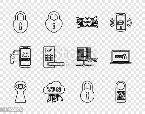 istock Set line Keyhole with eye, Please do not disturb, VPN microchip circuit, Cloud interface, Lock, Digital door lock wireless, and Laptop password icon. Vector 1346006278