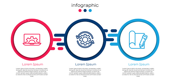 Set line Laptop and gear, Gear arrows as workflow and Graphing paper pencil. Business infographic template. Vector