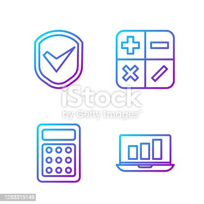 Set line Laptop with graph chart, Calculator, Shield with check mark and Calculator. Gradient color icons. Vector