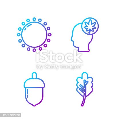 istock Set line Leaf or leaves, Acorn, Sun and Human head with leaf. Gradient color icons. Vector 1271582258
