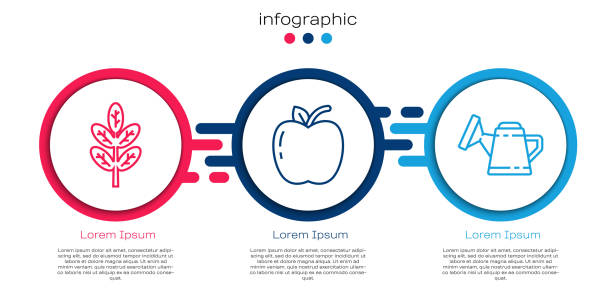 Set line Leaf or leaves, Apple and Watering can. Business infographic template. Vector Set line Leaf or leaves, Apple and Watering can. Business infographic template. Vector autumn clipart stock illustrations