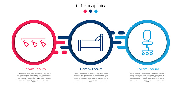 Set line Led track lights and lamps, Bed and Office chair. Business infographic template. Vector