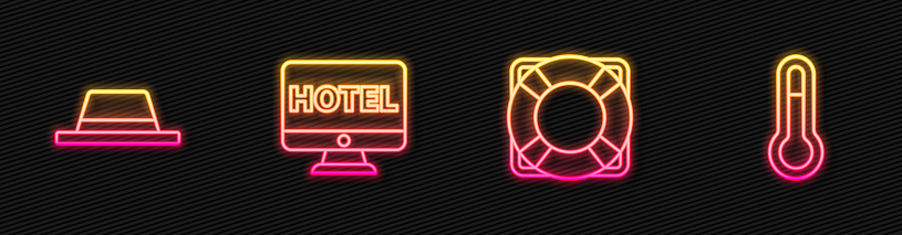 Set line Lifebuoy, Man hat with ribbon, Online hotel booking and Meteorology thermometer. Glowing neon icon. Vector.