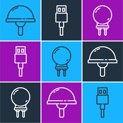 Set line Light emitting diode, Light emitting diode and USB cable cord icon. Vector