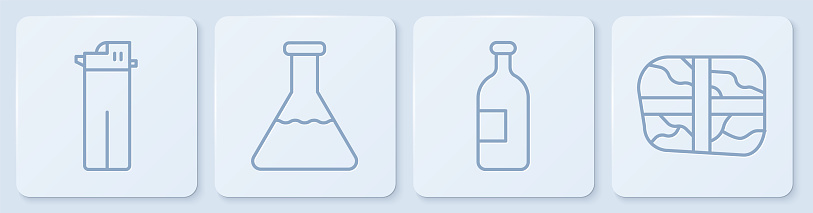 Set line Lighter, Alcohol drink bottle, Test tube and flask and Package with cocaine. White square button. Vector