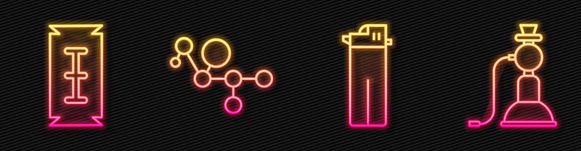 Set line Lighter, Blade razor, Cannabis molecule and Hookah. Glowing neon icon. Vector