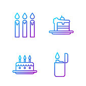 Set line Lighter, Cake with burning candles, Birthday cake candles and Cake. Gradient color icons. Vector