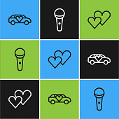 istock Set line Limousine car, Heart and Microphone icon. Vector 1284927480