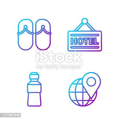 Set line Location on the globe, Bottle of water, Flip flops and Signboard with text Hotel. Gradient color icons. Vector