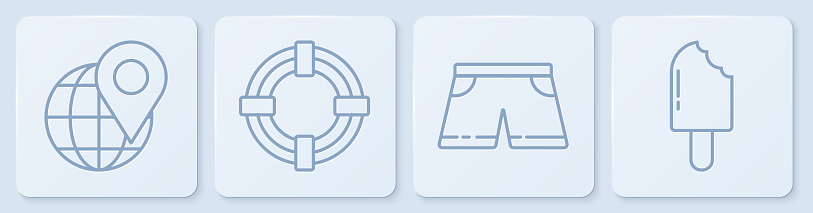 Set line Location on the globe, Swimming trunks, Lifebuoy and Ice cream. White square button. Vector