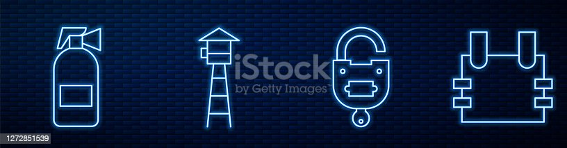 Set line Lock and key, Fire extinguisher, Watch tower and Bulletproof vest. Glowing neon icon on brick wall. Vector