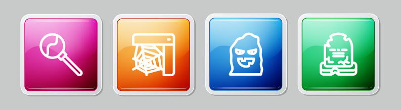 Set line Lollipop, Spider web, Funny and scary ghost mask and Tombstone with RIP written. Colorful square button. Vector