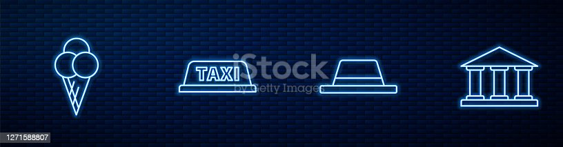 Set line Man hat with ribbon, Ice cream in waffle cone, Taxi car roof and Museum building. Glowing neon icon on brick wall. Vector.