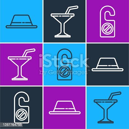 Set line Man hat with ribbon, Please do not disturb and Martini glass icon. Vector