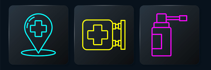 Set line Map pointer with cross hospital, Medical bottle with nozzle spray and Hospital signboard. Black square button. Vector