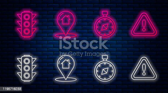 Set line Map pointer with house, Compass, Traffic light and Exclamation mark in triangle. Glowing neon icon on brick wall. Vector