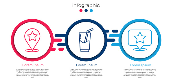 Set line Map pointer with star, Cocktail and alcohol drink and Map pointer with star. Business infographic template. Vector