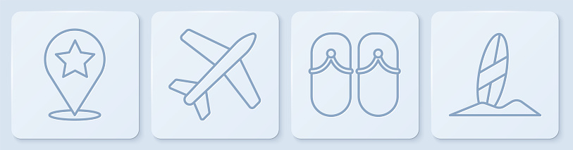 Set line Map pointer with star, Flip flops, Plane and Surfboard. White square button. Vector