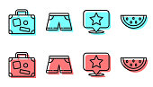 Set line Map pointer with star, Suitcase, Swimming trunks and Watermelon icon. Vector