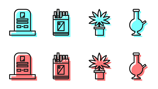 Set line Marijuana or cannabis plant in pot, Tombstone with RIP written, Open cigarettes pack box and Glass bong for smoking marijuana icon. Vector