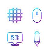 istock Set line Marker pen, Speech bubble with text 3D, Grid graph pape 1224379901